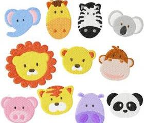 Set of eleven 4X4 Zoo & Jungle Baby Face Filled Machine Embroidery Designs