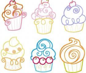 4X4 Set CupCake cup cake Applique Machine Embroidery Designs