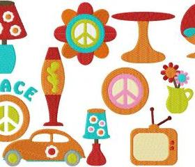 Set of twelve 4X4 Groovy Retro filled Machine Embroidery Designs