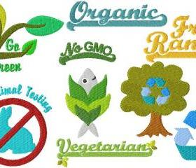 Set of fifteen 4X4 Earth Friendly Vegetarian Vegan & Organic Symbols Machine Embroidery Designs Recycle Reuse